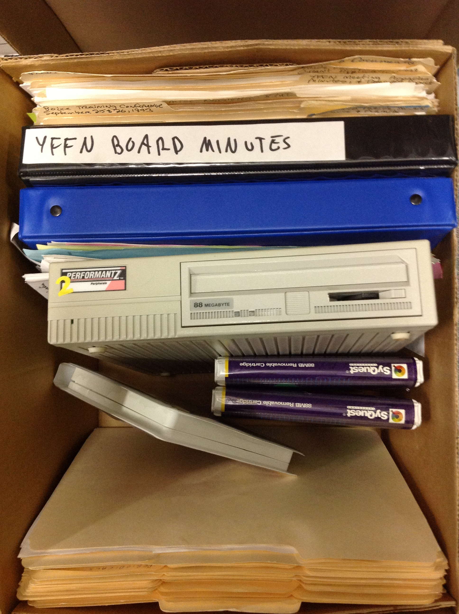 box of mixed media from Jump In participant Boise State University, Special Collections and Archives