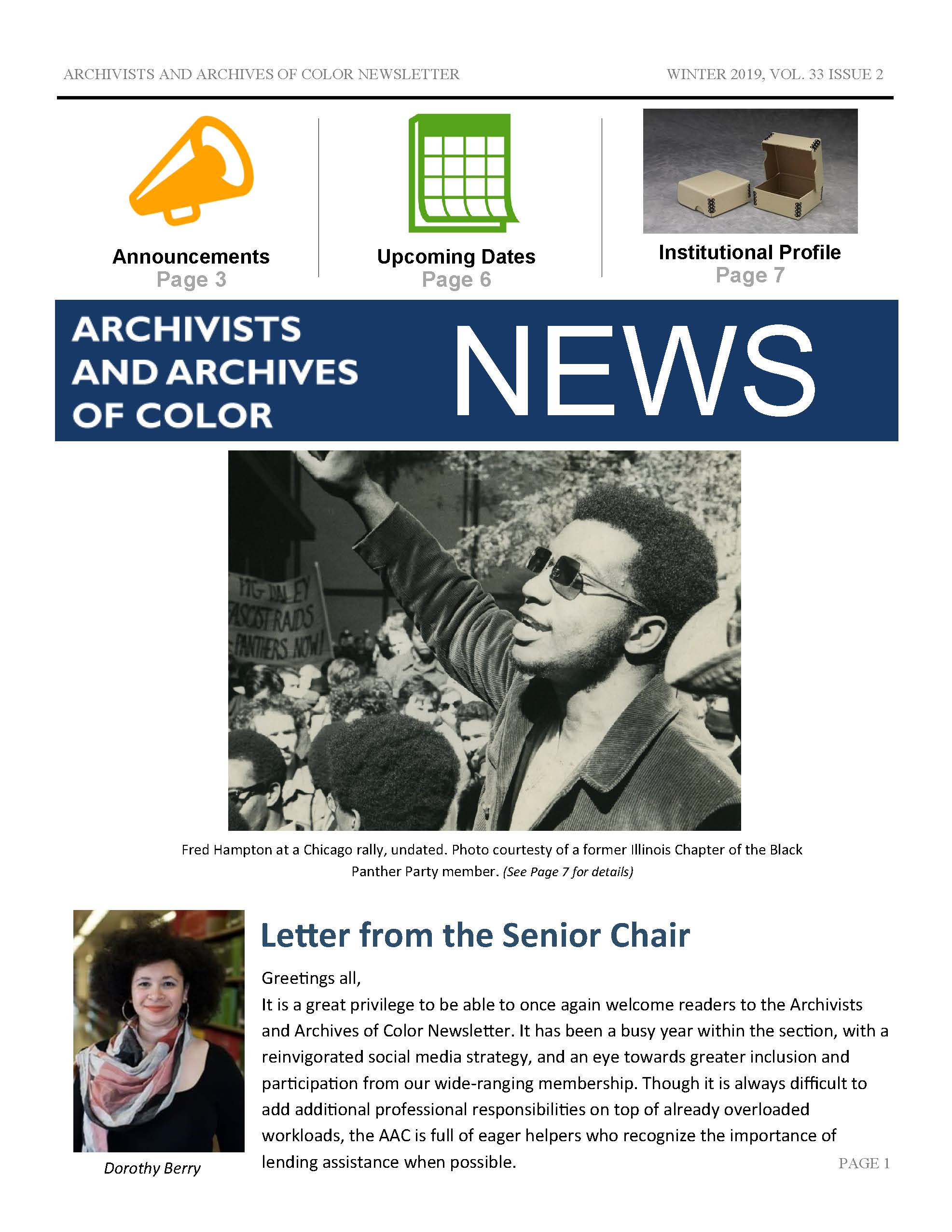 Archivists and Archives of Color Newsletter Winter 2019, Vol. 33 No. 2