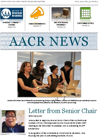 Fall 2016 Archivists and Archives of Color Roundtable Newsletter