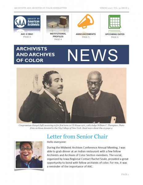 Archivists and Archives of Color Newsletter, 31 no. 3 (Spring 2017)