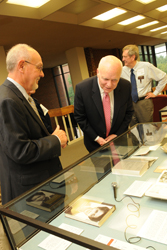GMULambExhibit_image2 John Zenelis, University Librarian, leads Brian Lamb on a tour of the exhibit.